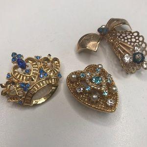 3 Vintage Rhinestone & Gold Pins Crown Bow Heart